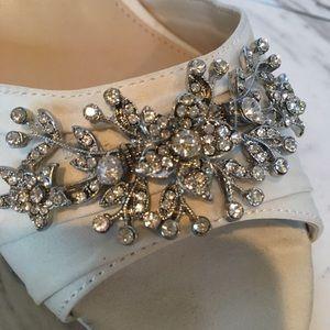 NIna Satin Jeweled Wedges